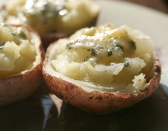 Try JJ's easy twice-baked, two-bite Blue Cheese Potato Skins
