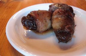 Bacon-Wrapped Dates w/ Warm Paprika Honey