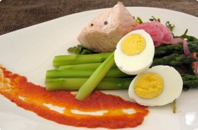 Asparagus, Egg & Arugula Salad w/ Cold Poached Salmon