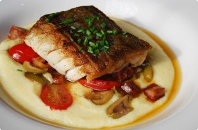 Pan-Seared Cod w/ Warm Olive Salad