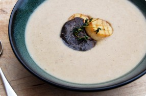 Chestnut Soup w/ King Oyster Mushrooms