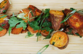 Roasted Sweet Potatoes w/ Ginger, Honey & Cilantro