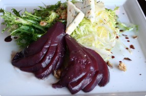 Frisée Salad w/ Poached Pears & Spiced Red Wine Glaze