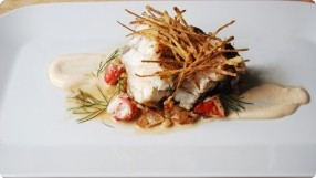 Olive Oil-Poached Monkfish w/ Lobster & White Bean Salad