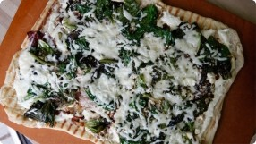 Grilled White Pizza w/ Caramelized Onions & Mixed Greens