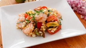 Warm Shrimp Salad w/ Cherry Tomatoes, Tarragon & Corn
