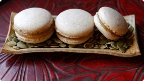Pumpkin Seed Macarons w/ Apple Butter