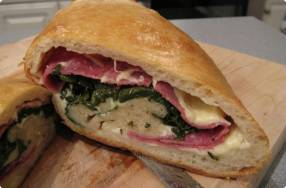 Spinach, Salami, Provolone Calzone
