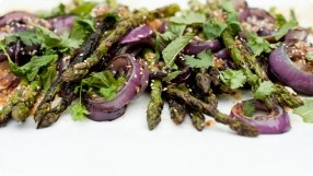 Grilled Asparagus & Red Onions w/ Sesame Vinaigrette