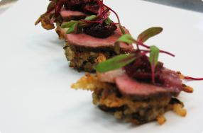 Seared Duck Breast on Wild Rice Pancakes