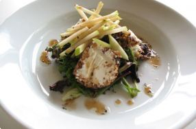 Pecan-Encrusted Goat Cheese Salad w/ Maple Vinaigrette