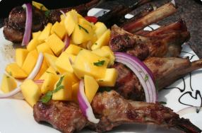 Lamb Lollipops with Mango Salsa