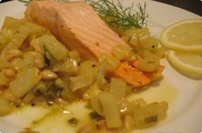 Braised Salmon & Fennel w/ Pine Nuts & Saffron