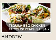 Tequila-BBQ Chicken Tacos w/ Peach Salsa