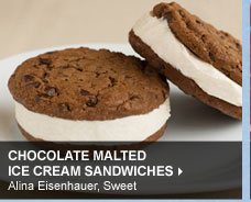 Chocolate Malted Ice Cream Sandwiches