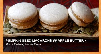Pumpkin Seed Macarons w/ Apple Butter