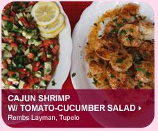 Cajun Shrimp w/ Tomato-Cucumber Salad